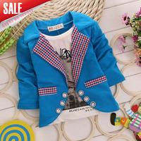4pcs/lot wholesale 2014 new arrival boys fashion fake two pieces t shirt children autumn cotton one pieces tops