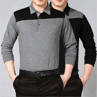 Free Shipping High-grade Cotton Business Men's Lapel Long-sleeved Polo Shirt Stitching men shirts