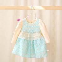 2015 New baby girls flowers dress children spring lace dress long sleeve bow 5 pcs/lot wholesale 2256