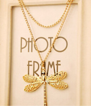 x43 New fashion personality hollow gold necklace free shipping  lovely dragonfly wings necklace jewelry wholesale(China (Mainland))