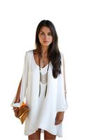 5785 New 2014 Women Summer Casual Dress Novelty Long sleeved Large Size Loose Chiffon Fashion Party Dresses Vestidos Desigual