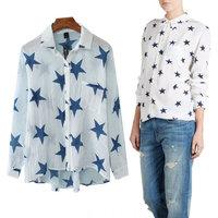 za2014 new women's European style big star star printed linen shirt