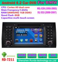 free shipping 1.6GHz DDR 8GB for bmw 5 series e39 car radio gps dvd 3G Wifi Bluetooth TV IPOD