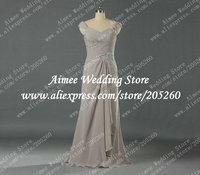 Elegant Real Sample Cap Sleeve Khaki Long Chiffon Brides Mother Dresses For Beach Weddings 2014 U112