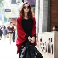 Korean New 2014 Women Batwing Cardigan Sweater Shawl Winter Plus Size Loose Long Casual Full Sleeve Knitwear Shrug Sweaters Cape