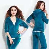 Big yards S-4XL velvet track suit,sweater set female sport suit women New 2014 Sweatshirt Hoodies Pullovers Coat women set sport