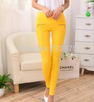 2014 South Korea Fashion brand New women autumn/winter astness ninth pants Ladies' Candy color zipper Pencil pants Free shipping