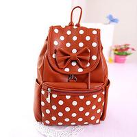 Summer fashion girl dot bow backpacks college student shoulder bag hot lady popular bow dot racksack  3 colors