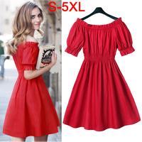 5XL Plus Size Fat Women's Summer Dress 2014 European and American Slim Waist Off Shoulder Red Dresses XXXXL/3XL/2XL/XL/XXXL/XXL