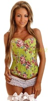 Sexy Lingerie  green rose Top Women Clubwear corset corselet steampunk gothic corpete bustier  OLN-0850