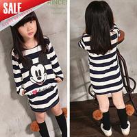 wholesale New 2014 Autumn fashion girls mickey cartoon t-shirt Fall long-sleeve black white striped long-design tees