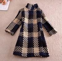 Cocoon Coat Women Plaid Blends Covered Button 3/4Sleeve Woollen Winter Coat Victoria Beckham Coat Overcoat Outwear