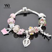 2014 new fashion love Style DIY pulseiras femininas Glass Beads Silver Charm Bracelets Women bracelet with CZ crystal WPA0857