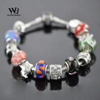 2014 new fashion love rock Style pulseiras femininas DIY CZ crystal Glass Beads Silver Bracelets Women bracelet WPA0864