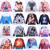 2014 New Fashion Women / Men 3d Printing Sweater Hoodies  Long Sleeve Sweatshirts Casual Sweater Tops Sports  top blouse