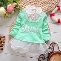 T822 New 2014 autumn 2015 Spring Baby Girls Clothing, Long Sleeved Cute Elegant Infant Dresses, Princess Dress Pink Green  F15
