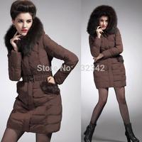 Large fox fur collar hooded down jacket 2014 winter women brand long down parka&coat
