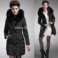 women Slim hooded down jacket soft rabbit fur collar thickening long down coat fashion floding hem winter warm outwear