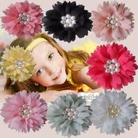 8 colors Infant flower headband Pearl Baby Headband Baby Accessories girls Children Hair Accessories Baby Girl Flower Headband