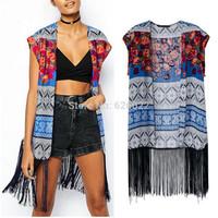 HOT ! Spring Summer Women's Ethnic BOHO Floral Print Sleeveless Loose Kimono Cardigan Tassels Shirts No button Blouses Tops