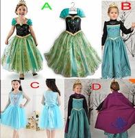 Retail Free Girls Frozen Dress full gauze sleeve Elsa Anna beautiful Fashion princess Dress Children's Cloting Drop Shipping
