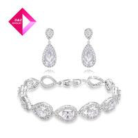 2014 new fashion luxury teardrop earrings + bracelet set,jewelry set