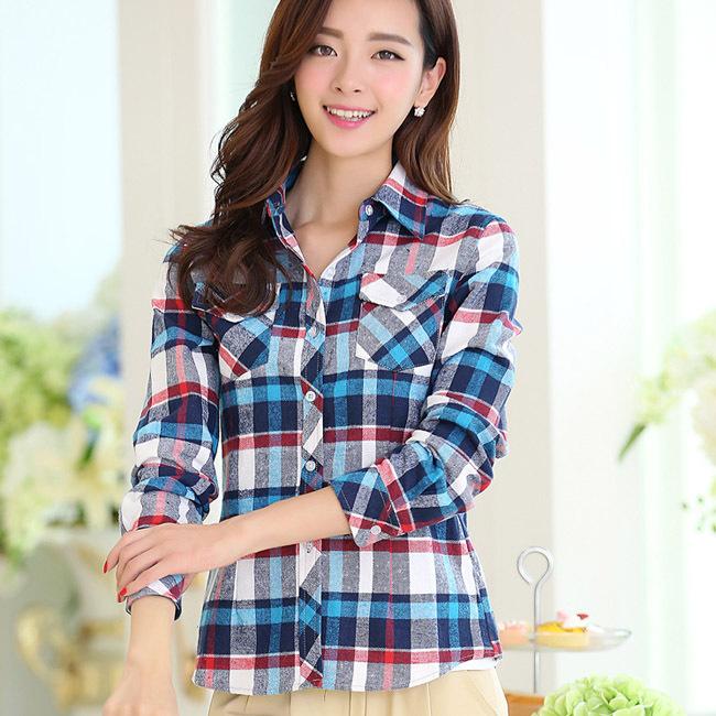 Cardigans Style Lady Fashion Autumn Blouse Size M-2XL Patchwork Design Women Cotton Plaid Shirts Clothing Feminina Camisa(China (Mainland))