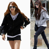 Wholesale! 2014 Spring Women Casual Thick Hoodies Clothing Batwing Long Sleeve Zipper Cardigan Jacket Sport Suit  nz191