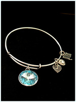 March Aquamarine Crystal Pendant Birthstone Alex and Ani Bangle Charm Bangle Wiring Bracelet expandable bangles