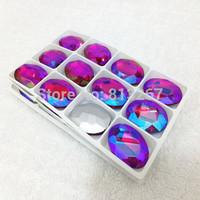 10x14mm 13x18mm 18x25mm 20x30mm Siam Red AB Color Oval Round Poinback Crystal Fancy Stone