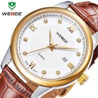 Watch Man WEIDE fashion quartz 30m water resistant genuine leather band Wristwatches calendar analog ladies reloj Brand