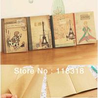 4 Differet Pcs/Lot Korea Stationery Vintage Little Prince Kraft Notebooks Diary Paper Notepad Sketch Books