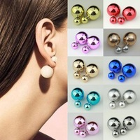 2014 High quality/Double Faced Pearl Stud Earring/Elegant Temperament/Pearl earrings/Free shipping/13 Colors Can Choose