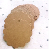 (1 Lot=100 Pcs) 6*6 CM DIY Scrapbooking Flowers Paper Kraft Blank Hang Tags Crafts Postcards Wedding Label Tag