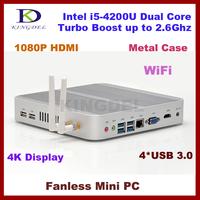 8GB RAM+128GB SSD Nettop thin client Intel i5-4200U CPU dual core quad thread, wifi, 4*USB 3.0 ports fanless,metal case