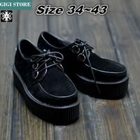 5 cm Heels EUR 35~43 Brand AOD Men Women 2014 Fashion Black Suede British Goth Punk Creepers Flats Boat Shoes platform shoes