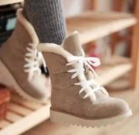 Plus size 35-43 women winter warm shoes causal ankle boots platform heels lace up Super warm snow boots 8a48