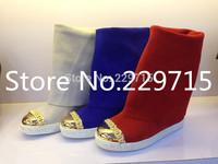 women boots new 2014 casade women genuine leather shoes brand design gold toe fashion women wedges Platform Knee-high Boots