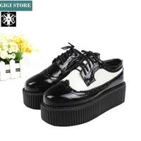 5 cm Heels New Fashion 2014 Men And Women Black Goth Punk Street Creepers Platform Shoes Flats Heel Shoes