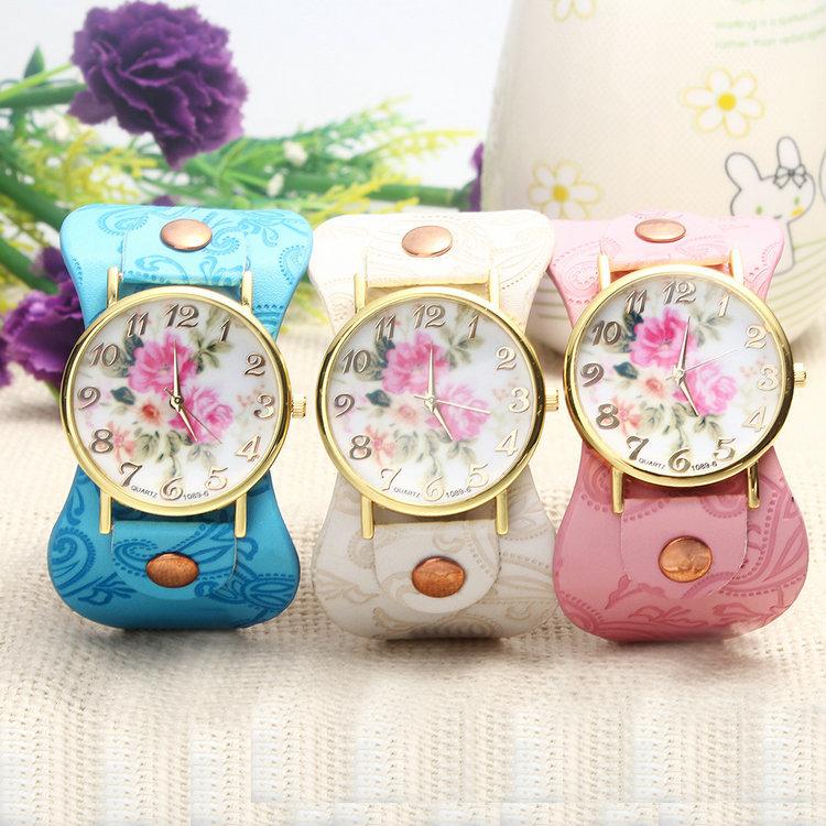 2014 New Fashion Vintage Jewelry High-quality Trendy Watch Wonmen's Peony Pattern Watch with PU Strap Watches(China (Mainland))