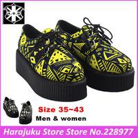 5 cm Heels EU 35~43 AOD 2014 Men and Women Harajuku Creepers Platform Goth Puck Shoes For Woman Graffiti Style Boat Shoes