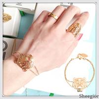 Delicate Brand Animal Bracelets Bangles Gold Silver Animal Double chains bracelet Fashion women Chain Jewelry 2014