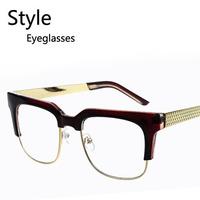 Wholesale Retail Fashion Retro Half Frame Metal Men Eyeglasses New Square Big Frame Male Eyewear free shipping