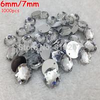 AAA 6mm/7mm 1000PCS Crystal Clear Superior Taiwan Acrylic Flat Back Stones Round Circle Shape Acrylic Rhinestone Sew On 2 Hole