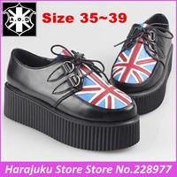 5 cm Heels AOD  Fashion British Goth Punk HARAJUKU Creepers Flats Hot Sale Lace up UK Flag Boat Shoes Autumn Winter