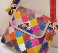 2014 New Color Block Fashion Designer Lady's Shoulder Bags 100% Genuine Leather Patchwork Handbag Women Messenger Bags CB1105