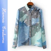 2014 autumn long sleeve shirt women fashion printed blouse blusas for woman