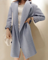 women's coats 2014 Autumn & Winter Oversized Women coat Female Overcoat/European Sky Blue Long Coat Plus Size XL women's Jackets