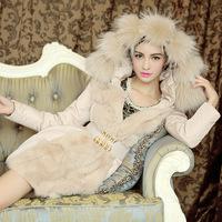 New 2014 winter jacket coat women,Thicken warm -30 below zero fashion luxurious fur oversized fur collar downjacket&coat.