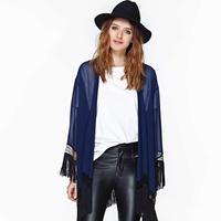 Black Luxury Tassel Sweep Long-Sleeve Shirt,Blue Chiffon Kimono Cardigan,Women Casual Wear  Blouses,Women Shirts,Free Shipping